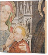 Madonna And Child Fresco, Italy Wood Print
