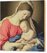 Madonna And Child Wood Print by Il Sassoferrato