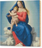 Madonna And Child In Glory Wood Print