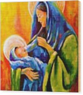 Madonna And Child Painting Wood Print