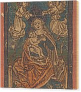 Madonna And Child Seated On A Grassy Bank With Angels Wood Print