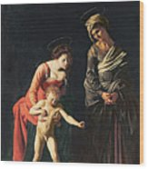 Madonna And Child With A Serpent Wood Print
