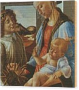 Madonna And Child With An Angel Wood Print
