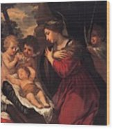 Madonna And Child With Child And Angles Wood Print