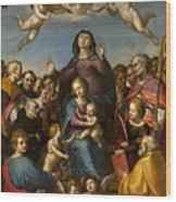 Madonna And Child With Saint Anne And The Patron Saints Of Florence Wood Print