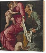Madonna And Child With Saint Elizabeth And Saint John The Baptist Wood Print