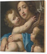 Madonna And Child With Saint John The Baptist Wood Print