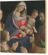 Madonna And Child With Saint John The Baptist Two Saints And Donors Wood Print