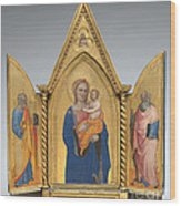 Madonna And Child With Saint Peter And Saint John The Evangelist [middle Panel] Wood Print
