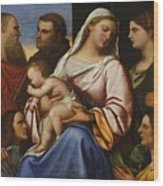 Madonna And Child With Saints And Donors Wood Print