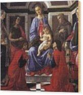 Madonna And Child With Six Saints Wood Print