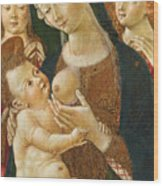 Madonna And Child With Two Angels Wood Print