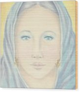 Madonna In Blue Wood Print