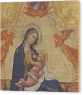 Madonna Of Humility The Blessing Christ Two Angels And A Donor Wood Print