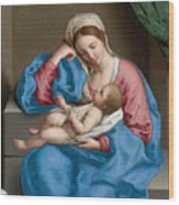 Madonna With The Infant Christ Child Holding A Goldfinch On A String  Wood Print