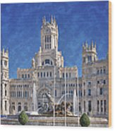 Madrid City Hall Wood Print by Joan Carroll