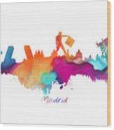 Madrid Colored Skyline Wood Print