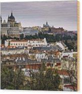 Madrid Panorama From Debod Lookout Madrid Spain  Wood Print