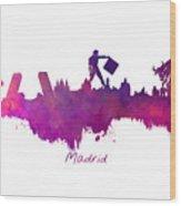Madrid Skyline City Wood Print