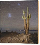 Magellanic Clouds And Forked Cactus Incahuasi Island Bolivia Wood Print