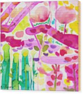 Magenta Garden In The Afternoon Wood Print
