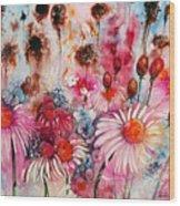 Magenta May Flowers Wood Print