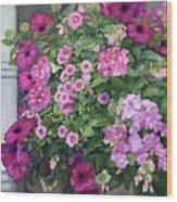 Magenta Petunias Wood Print