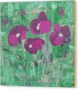 Magenta Poppies Wood Print