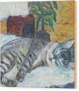 Maggie Sleeping Wood Print