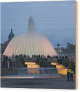 Magic Fountain In Barcelona Wood Print