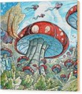 Magic Mushroom Forest Wood Print