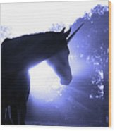 Magic Unicorn In Blue Wood Print