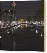 Magical Amsterdam Night - Blue Crown Skyline Wood Print
