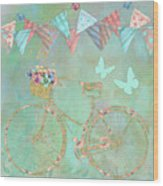 Magical Bicycle Tour Enchanted Happy Art Wood Print