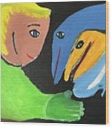 Magical Encounter Between A Boy And Creatures Of The Sea Wood Print