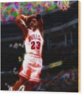 Magical Michael Jordan White Jersey Wood Print by Paul Van Scott