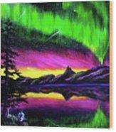 Magical Night Meditation Wood Print