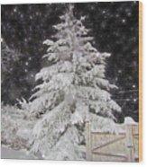 Magical Nighttime Snow Wood Print
