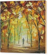 Magical Park Wood Print by Leonid Afremov