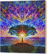 Magical Tree And Sun 2 Wood Print