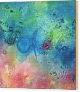 Magma Flow Seahorse And Bubbles Wood Print