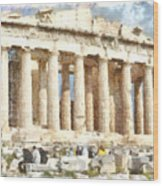 Magnificent Acropolis In Athens Wood Print