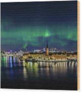 Magnificent Aurora Dancing Over Stockholm Wood Print