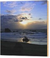 Magnificent Bandon Sunset Wood Print