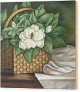 Magnolia Basket Wood Print