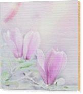 Magnolia Flowers Watercolor Wood Print