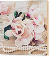 Magnolia Flowers With Pearls Wood Print