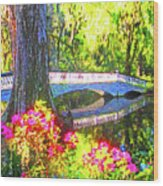 Magnolia Gardens Bridge Wood Print