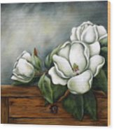 Magnolia On A Chest Wood Print