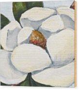 Magnolia On Blue Wood Print